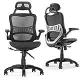 Komene - Sedia da uffici ergonomica con bracciol pieghevol, altezza regolabil, poggiatest schienal in rete, sedia da scrivania girevol direzional (Black, 20)