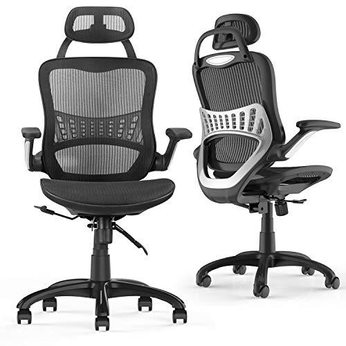 Komene Ergonomischer Bürostuhl, drehbarer Schreibtischstuhl mit atmungsaktiver Netzrückseite, verstellbare Kopfstütze, Rückenlehne und Armlehne Schwarz (Schwarz, L)