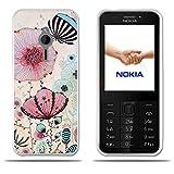 FUBAODA für Nokia 230 Hülle, [Lotus] Transparente Silizium TPU Mode Kreative Design Slim Fit Shockproof Flexible Blumen gedruckt Blume Hybrid Schock Absorbing Girl Geschenke für Nokia 230