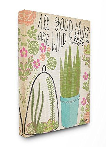 Stupell Industries Guten Dinge Sind Wild und frei Zimmerpflanzen, übergroße Gespannte Leinwand Art Wand, -