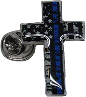 ALBATROS USA American Thin Blue Line Tattered Cross Bike Motorcycle Hat Cap Lapel Pin for Home and Parades, Official Party, All Weather Indoors Outdoors