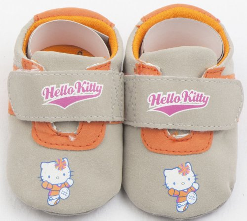 Baskets daim à scratch bébé fille Hello kitty gris/orange 0/6mois