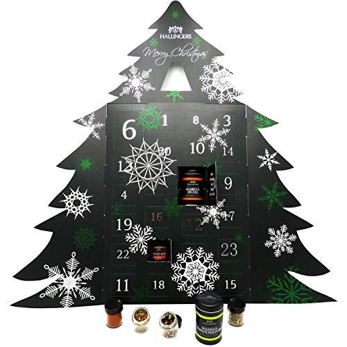 Hallingers Riesiger 24 Gewürz-Adventskalender als Baum (570g) - Merry Christmas (Adventsbaum) - zu Weihnachten Adventskalender