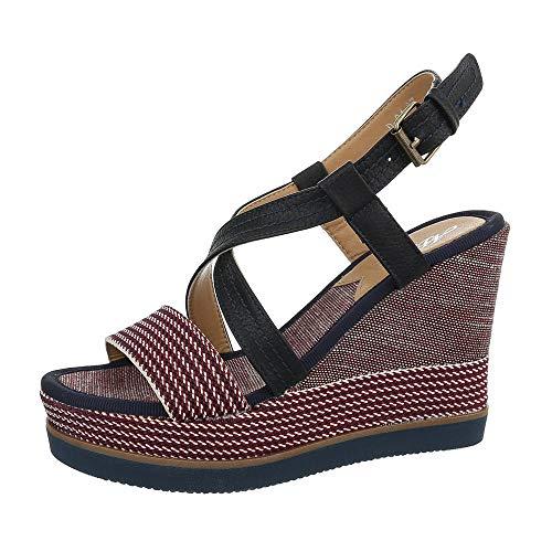 Ital-Design Damenschuhe Sandalen & Sandaletten Keilsandaletten Synthetik Rot Blau Gr. 39