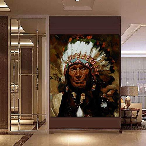 wZUN Manifesto della Pittura della Tela del Ritratto della Piuma indigena Indiana Astratta e Immagine della Parete di Arte della Stampa 60x80 Senza Cornice