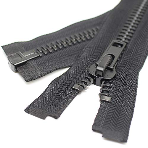 YaHoGa 70 cm #10 Große Reißverschluss Metall Reißverschluß teilbar Reissverschluss für Mantel, Jacke (Schwarz)