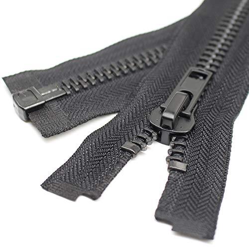 YaHoGa 68 cm #10 Große Reißverschluss Metall Reißverschluß teilbar Reissverschluss für Mantel, Jacke (Schwarz)