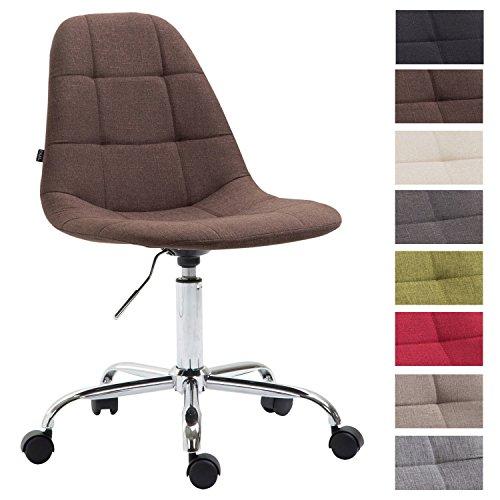 CLP Bürostuhl Reims mit Stoffbezug | Schreibtischstuhl mit gestepptem Sitz | Höhenverstellbarer Arbeitsstuhl mit Metallgestell erhältlich Braun