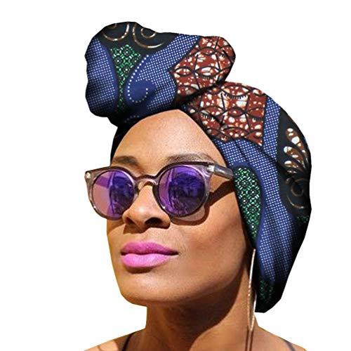 Mengyu Femmes Foulard de Tête Élastique Turban à Africaine Impression Element Headwraps Écharpe de Tête (Style#4, 50 * 150cm)