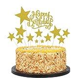 Decoración para Tarta, Topper Feliz Cumpleaños, Estrellas Cake Topper, para Boda, Aniversario, Fiesta de Cumpleaños, Decoración del Hogar, Etc (16 Piezas) (dorado)