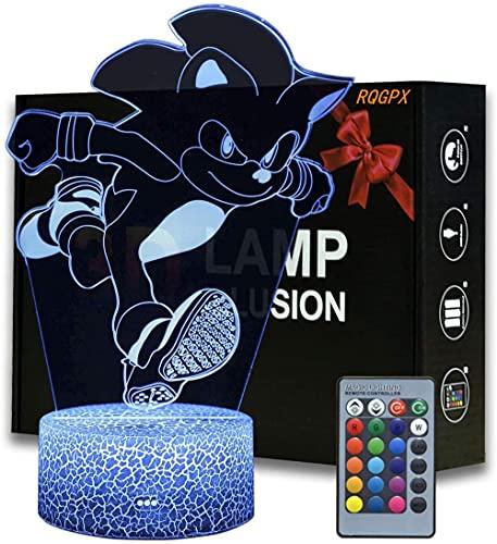 Luz de noche 3D Sonic USB Powered y control remoto RQGPX Luz de noche mejor regalo para niños en cumpleaños o Navidad