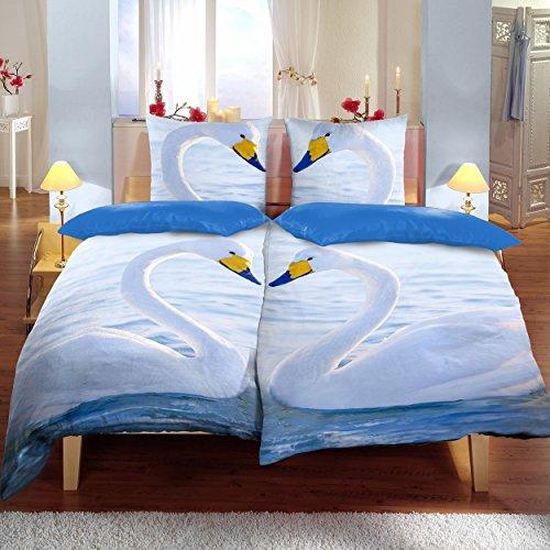 Bettwäsche 4tlg, Schwäne-Muster, Bettwäsche-Set, bequemer Bettbezug, Schlafzimmerbettwäsche, Doppelbett Bezug, 135 x 200cm