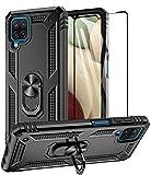 Aliruke Galaxy A12 Hülle mit gehärtetem Glas Bildschirmschutzfolie & Grip Ring Kickstand, Militärqualität Schutzhülle Magnetisch Finger Loop Stand Handyhülle Kompatibel für Samsung Galaxy A12, Schwarz