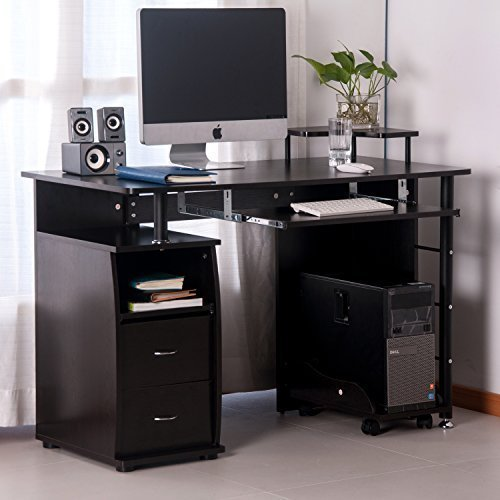 Merax Home Office Computer Desk Table with Keyboard Tray and Drawers (Espresso)