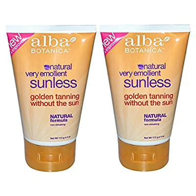 Alba Botanica Natural Very Emollient Sunless Tanning Lotion with Natural Formula, 4 oz. (113 g) (Pack of 2)