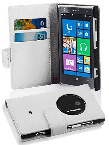 Cadorabo Custodia Libro per Nokia Lumia 1020 in BIANCO FLOREALE - con Vani di Carte e Funzione Stand di Similpelle Strutturata - Portafoglio Cover Case Wallet Book Etui Protezione