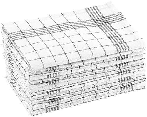 Rosenstein & Söhne Küchentücher: Baumwoll-Geschirrtücher, 12er-Set, je 50 x 70 cm, grau-kariert (Geschirrhandtuch)