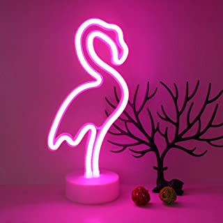 Flamingos Neon Lights GUOCHENG Decor Light Led Night Light Wall Table Decor Battery Operated Creative Lighting Lamp Home Decoration Party Decoration Gift for Kids (Flamingos)