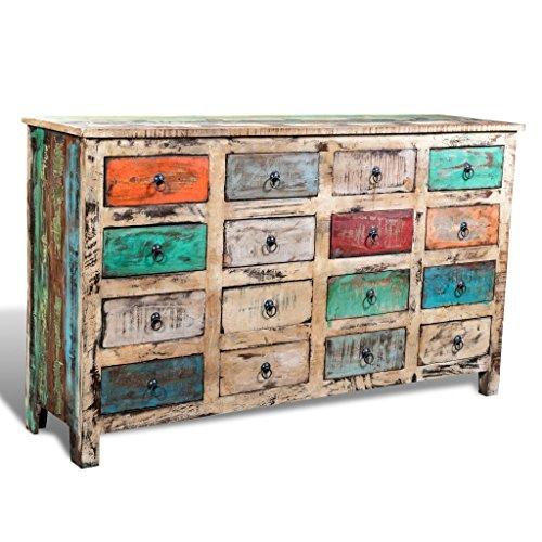 Lingjiushopping Armoire en bois recyclé multicolore 16 tiroirs façade blanche Dimensions : 154 x 42 x 92 cm (L x l x H) Commode