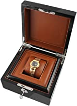 Wooden Paint Black Watch Display Box, Single Compartment with Removable PU Leather Watch mat Jewelry Storage Box