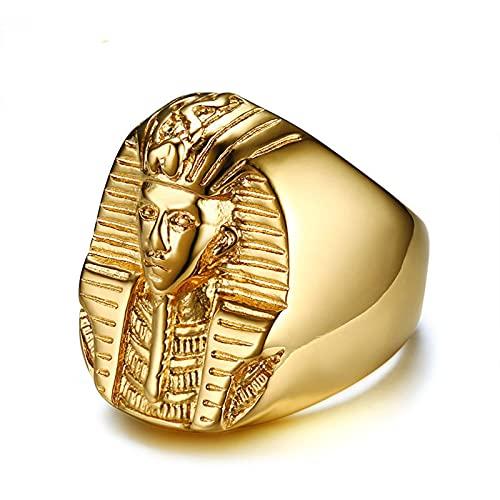 ZiFei Anillo de Color Dorado Misterioso Faraón Egipcio Rock Titanio Acero Inoxidable Signet Bling Anillos para Hombres Joyería,11