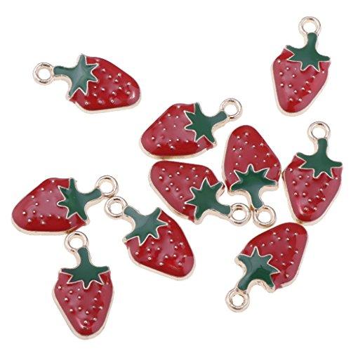 IPOTCH 10 Stücke Fruchtform Charms Anhänger Schlüssel Anhänger Charms Schmuck Deko für DIY Schmuck Machen - Erdbeere