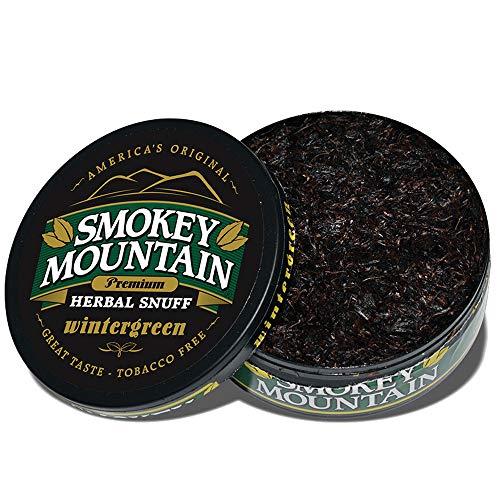 Smokey Mountain Herbal Snuff - Wintergreen - 1-Can - Nicotine-Free and Tobacco-Free