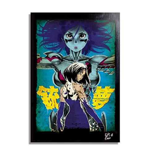 Alita, ángel de Combate (Battle Angel Alita/Gunnm) - Pintura Enmarcado Original, Imagen Pop-Art, Impresión Póster, Impresion en Lienzo, Cuadro, Cómics, Cartel de la Película, Anime, Manga