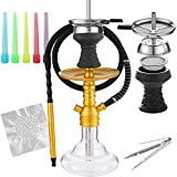 Hookah Set Carbon Fiber Printed Pattern with Accessories Silicone Hose Bowl Tongs Mouth Tips, Small Aluminum Hooka Portable Shisha Hookahs Complete Set Glass Vase Gold