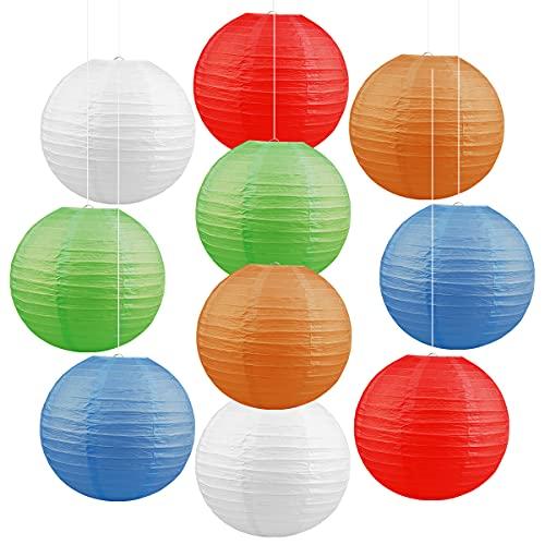 Jangostor 10 farolillos de Papel Multicolor, 30 CM Redondos, Pantalla de lámpara,...