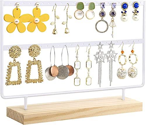 Recet Soporte para joyas, pendientes, caja de almacenamiento, soporte para árbol, 46 agujeros, 2 capas, con base de madera, utilizado principalmente para pendientes (color blanco)