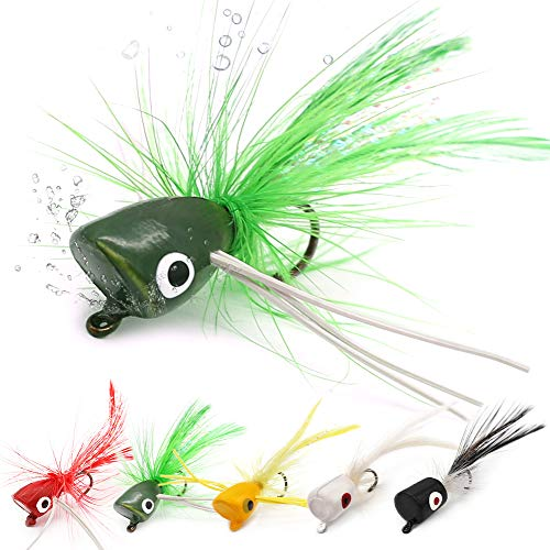 XFISHMAN Fly Fishing Poppers Lures for Bass Panfish Flies Topwater