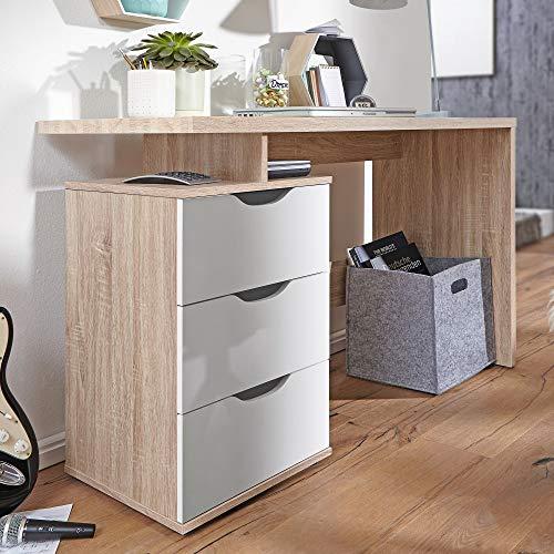 FineBuy Schreibtisch 120 x 76 x 53 cm mit 3 Schubladen in Sonoma Weiß | Computertisch modern für Jugendliche | Laptoptisch platzsparend mit Ablage