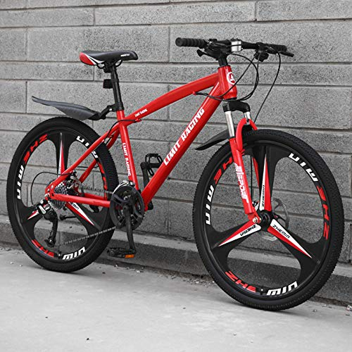 DGAGD 24 inch mountain bike bicycle adult one-wheel variable speed three-wheel bicycle-red_21 speed