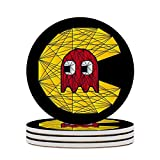 Round Ceramic Stone Coaster Set of 4 Pacman Polygon Stainglass Round Coaster Drink Absorption Coaster with Cork Base (3.9 inches)