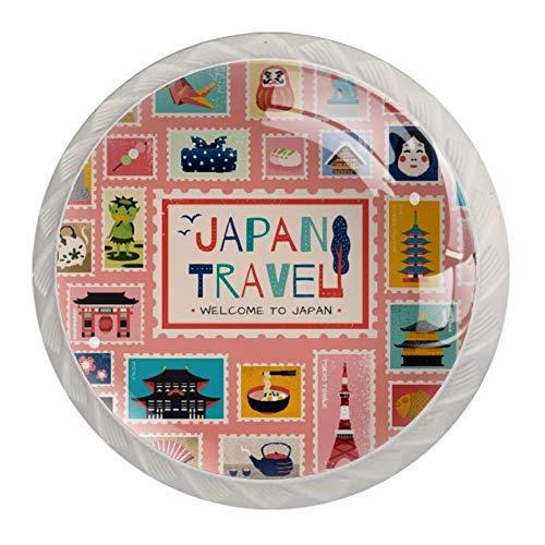 Simboli tradizionali giapponesi in francobollo armadietto, cassetto, pomelli in vetro per armadietti, porte, armadi, armadi