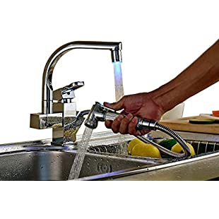 Rozin Pull Out Hand Spray Kitchen Sink Vanity Tap Faucet Mixer Tap LED Color Changing Chrome Polished, Deck-Mounted Hand Spray:Isfreetorrent