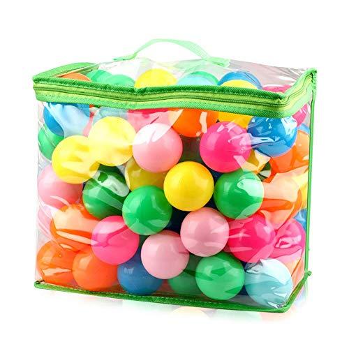 iKing カラーボール ボールプール用ボール 海洋ボールのおもちゃ 直径5.5cm ポリエチレン製 PE より厚み 弾力あり 柔らかい 7色 収納ケース付き 100個