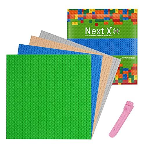 NextX 4 Stück Bauplatte für Classic Bausteine mit Steinlöser Trenner Werkzeug Plastik Grundplatte 25 x 25 cm - Blau Grün Grau Sand
