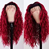 QD-Tizer Ombre Burgundy Red Lace Front Wigs for Women Long Loose Curly Hair Burgundy Color Heat Resistant Synthetic Lace Front Wig