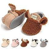 Lafegen Infant Baby Boys Girls Slipper Stay On Non Slip Soft Sole Newborn Booties Toddler First Walker Crib House Shoes 0-18 Months, 01 Brown, Baby Slipper 0-6 Months Infant