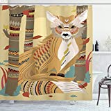 Ambesonne Fox Shower Curtain, Animal Theme a Fluffy Wild Fox in The Forest and Tree Trunks Design Pattern Print, Cloth Fabric Bathroom Decor Set with Hooks, 70' Long, Light Coffee