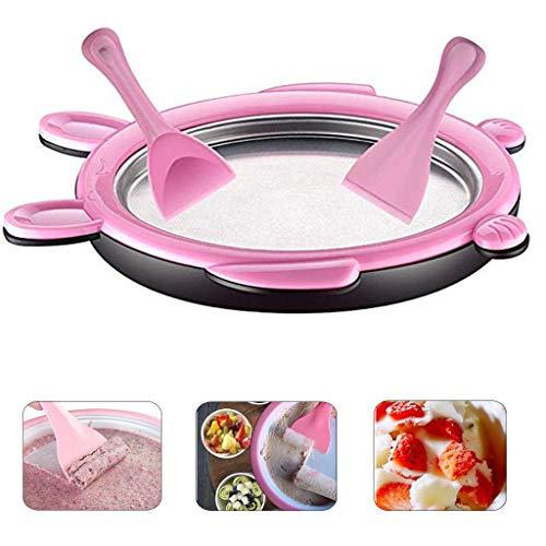 Eisplatte Set EIS-Teppanyaki-Platte zum Zubereiten von Ice Cream Rolls, DIY Sweet Spot EIS-Maker, Eismaschine mit 2 x Spachtel VNEIRW (Pink)