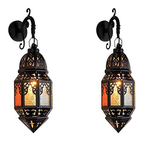 GENGJ 2 de Marruecos Estilo lámpara de Pared Sala de Estar lámpara de Pared Pasillo Sala Creativa Hotel de Hierro Forjado lámpara de Pared Europea
