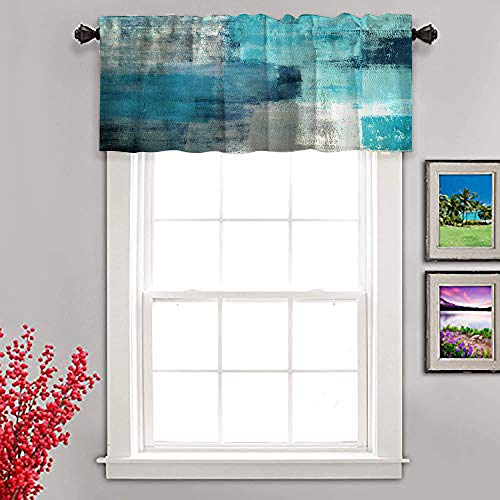 CNNLUG Turquoise Blue Grey Abstract Kitchen Window Treatment Valances,Semi-Decorative Curtains,Used for Bathroom,Living Room and Dining Room Theme Decoration,Curtain Hanging Cloth,52X18 Inches