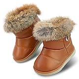 Botas de Nieve para niñas pequeñas Botas Forradas de Piel sintética para niños Zapatos Planos de Invierno al Aire Libre Botines Calientes para niños pequeños
