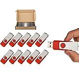 TOPESEL 10 Pack 16GB Swivel Design USB 2.0 Flash Drive Memory Stick Fold Storage Thumb Stick Pen (16G, 10 PCS, Red)