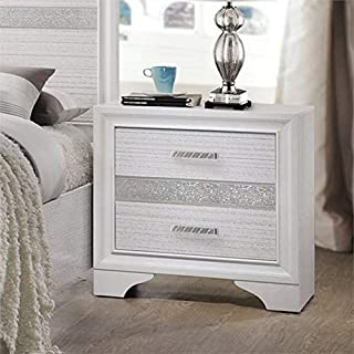 BOWERY HILL 2 Drawer Nightstand with Hidden Jewelry Tray in White