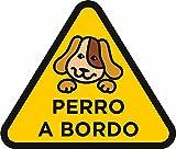 Oedim Pack 5 Pegatinas Perro a Bordo Amarillo 20 x 18 cm | Adhesivo de Fácil Colocación | Pegatina para Coche Económica y Resistente