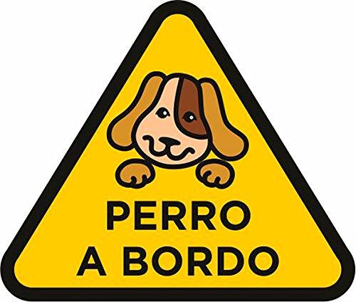 Oedim Pegatina Perro a Bordo Amarillo 20 x 18 cm | Adhesivo de Fácil Colocación | Pegatina para Coche Económica y Resistente